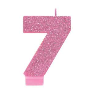 Amscan No. 7 Pink Glitter Numeral Candle