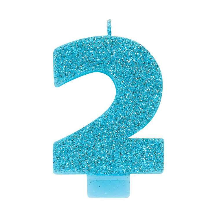 Amscan No. 2 Blue Glitter Numeral Candle