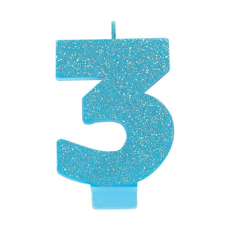 Amscan No. 3 Blue Glitter Numeral Candle