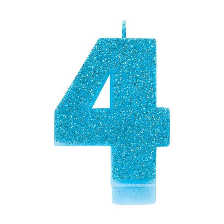 Amscan No. 4 Blue Glitter Numeral Candle