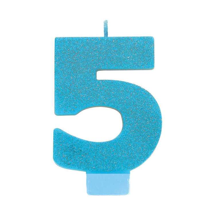 Amscan No. 5 Blue Glitter Numeral Candle