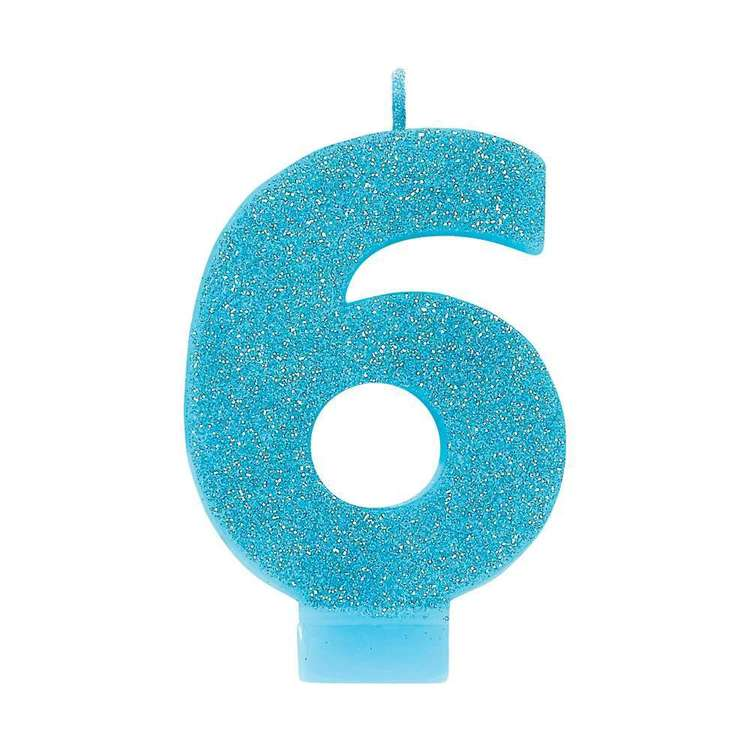Amscan No. 6 Blue Glitter Numeral Candle