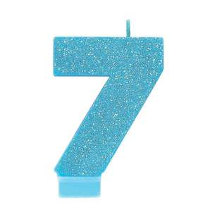 Amscan No. 7 Blue Glitter Numeral Candle