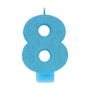 Amscan No. 8 Blue Glitter Numeral Candle