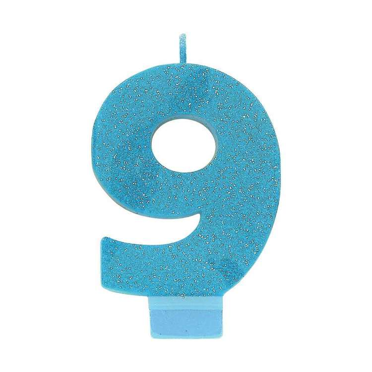 Amscan No. 9 Blue Glitter Numeral Candle