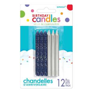 Amscan Glitter and Metallic Candles 12 Pack