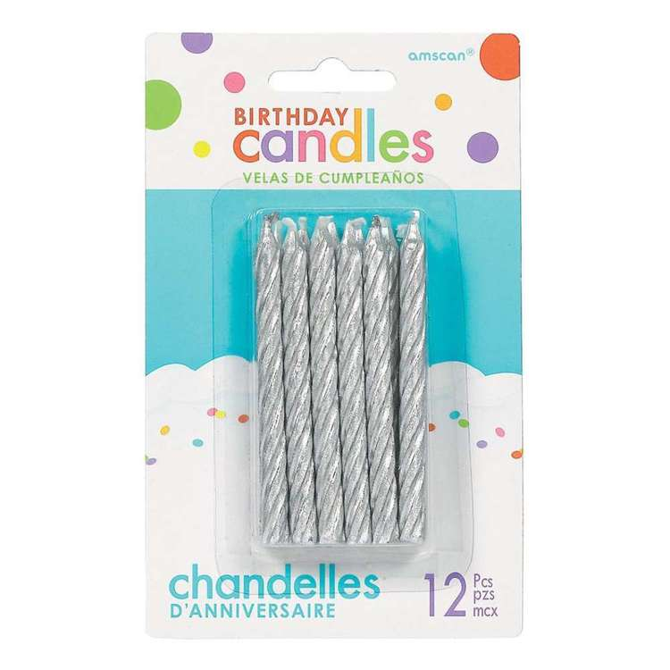 Amscan Metallic Spiral Candles 12 Pack
