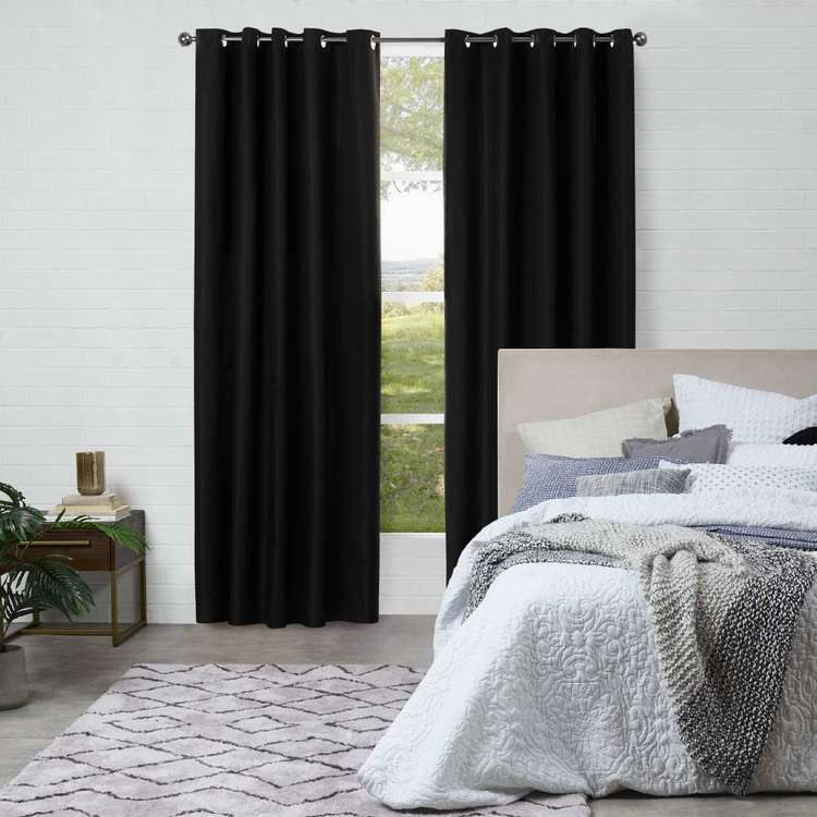 KOO Louise Blockout Eyelet Curtains Black 220 - 270 x 250 cm
