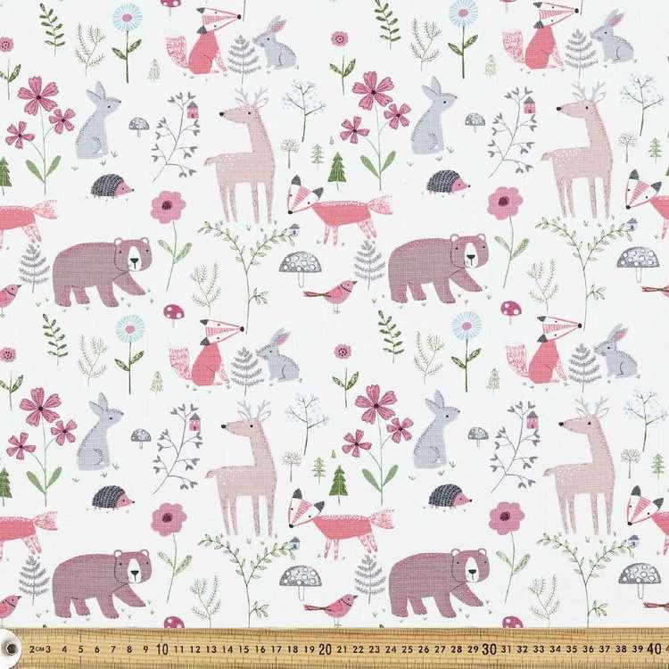Woodland Animal Print Uncoated Curtain Fabric
