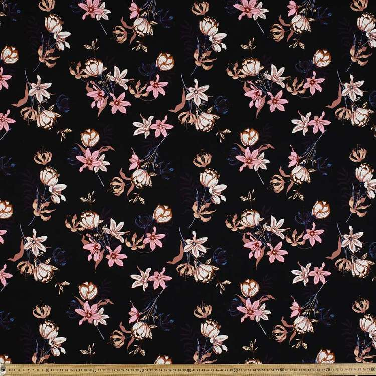 Flower # 2 Rayon Spandex Knit Fabric Black 148 cm