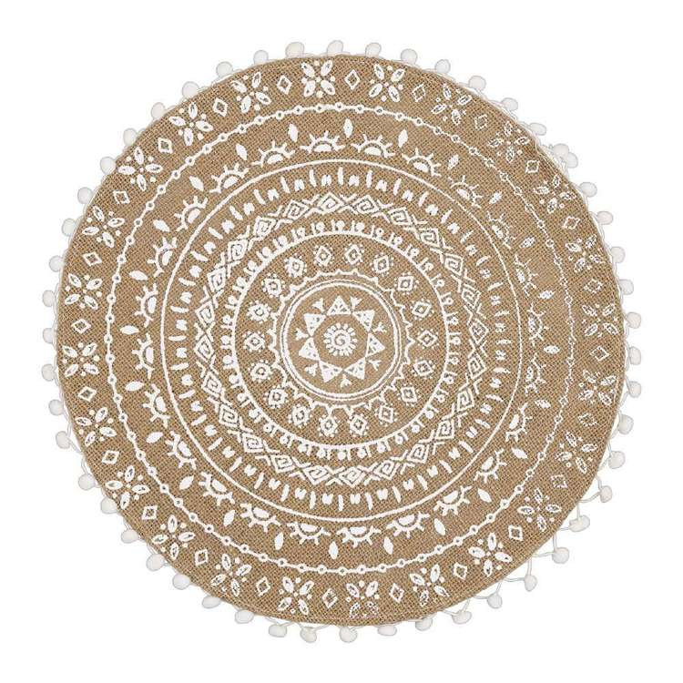 Ombre Home Boho Bloom Mandala Placemat Natural & White 38 cm