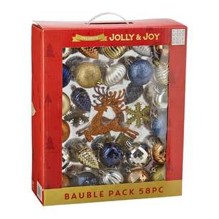 Jolly & Joy Decorate Glam Luxe Bauble 58 Pack