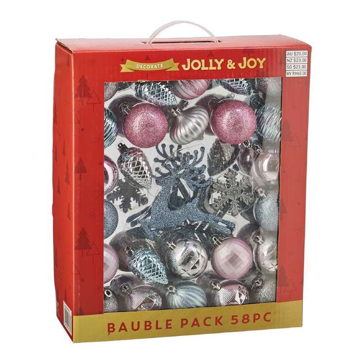 Jolly & Joy Decorate White Christmas Bauble 58 Pack Multicoloured
