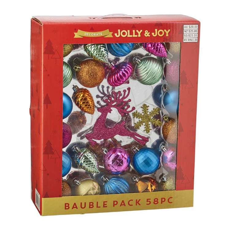 Jolly & Joy Decorate Festive Pop Bauble 58 Pack Multicoloured