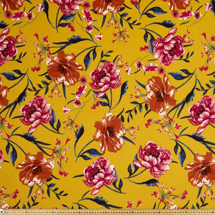 Flower Printed Ponte Double Knit Fabric