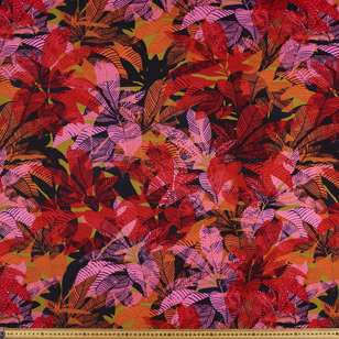 Leaves Printed Ponte Double Knit Fabric