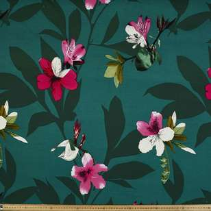 Green Lily Printed Ponte Double Knit Fabric