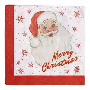 Jolly & Joy Celebrate Vintage Santa Lunch Napkin 20 Pack