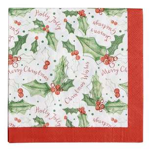 Jolly & Joy Celebrate Holly Jolly Lunch Napkin 20 Pack
