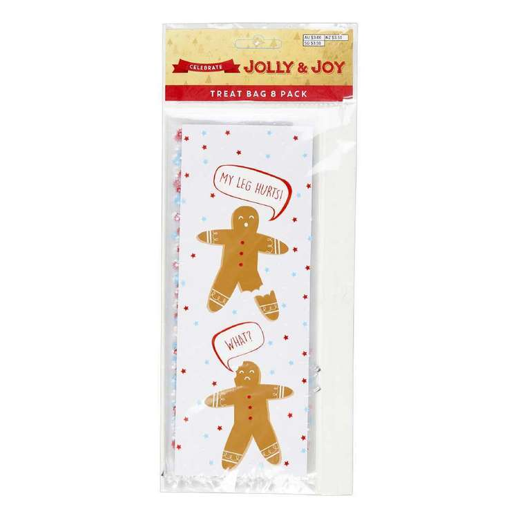 Jolly & Joy Celebrate Gingerbread Treat Bag 8 Pack Clear