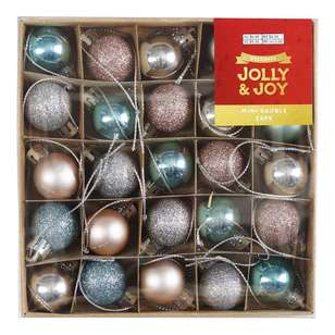 Jolly & Joy Decorate White Christmas Mini Baubles 25 Pack