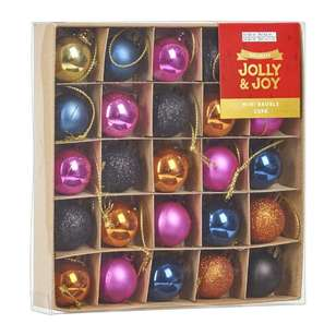 Jolly & Joy Decorate Glam Luxe Mini Baubles 25 Pack