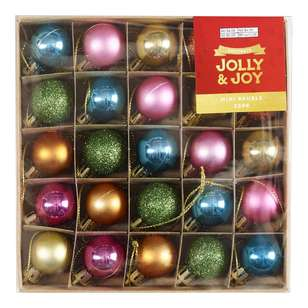 Jolly & Joy Decorate Festive Pop Mini Baubles 25 Pack