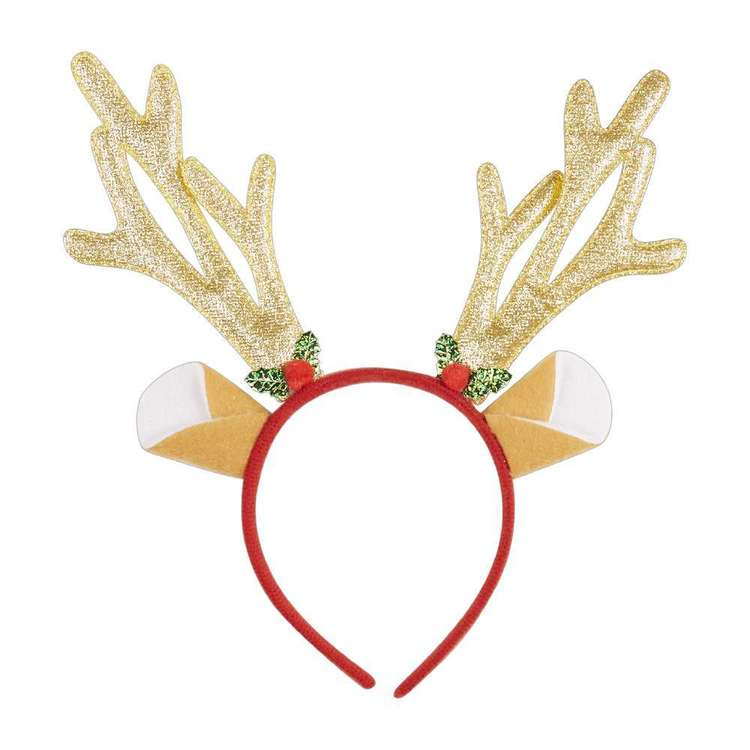 Jolly & Joy Celebrate Gold Antler Holly Headband