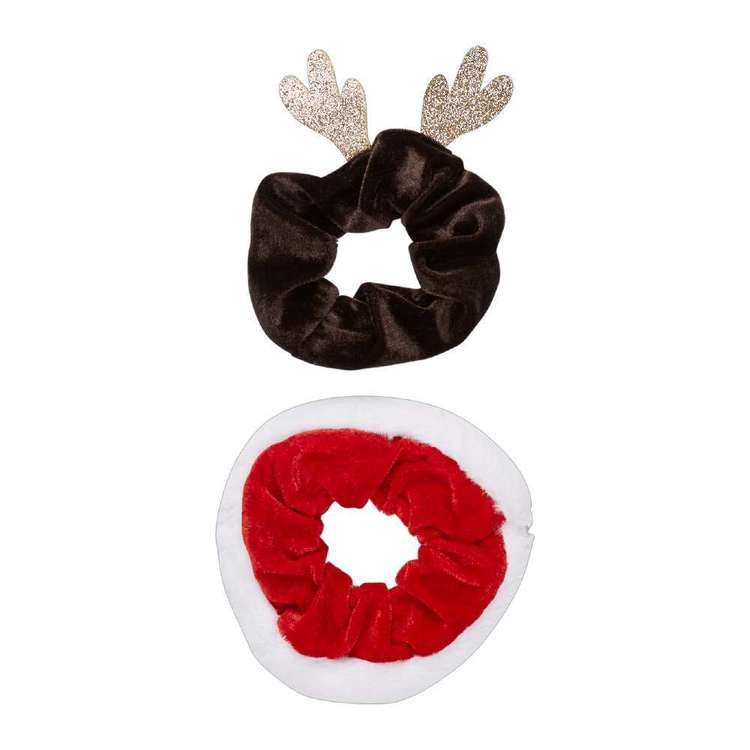 Jolly & Joy Celebrate Santa & Reindeer Scrunchie 2 Pack