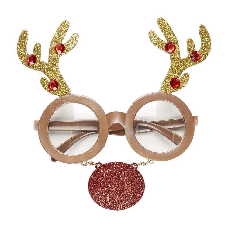 Jolly & Joy Celebrate Reindeer with Nose Novelty Glasses