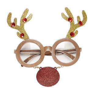 Jolly & Joy Celebrate Reindeer with Nose Novelty Glasses