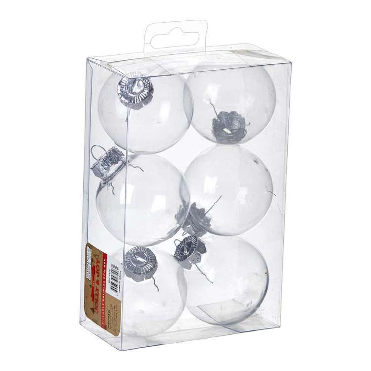 Jolly & Joy DIY 6cm Fillable Bauble 6 Pack