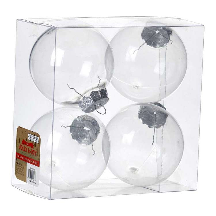 Jolly & Joy DIY 8cm Fillable Bauble 4 Pack