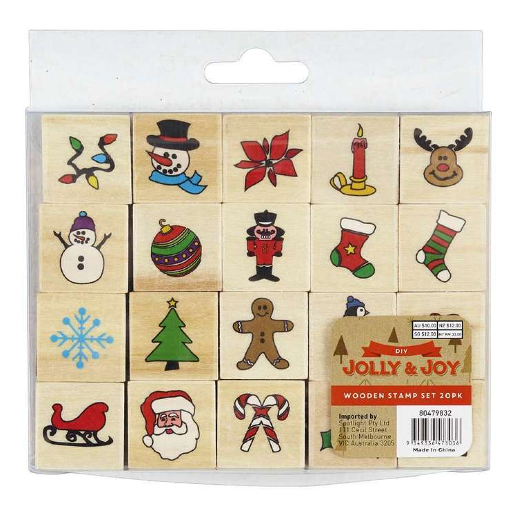 Jolly & Joy DIY Wooden Stamp Set 20 Pack