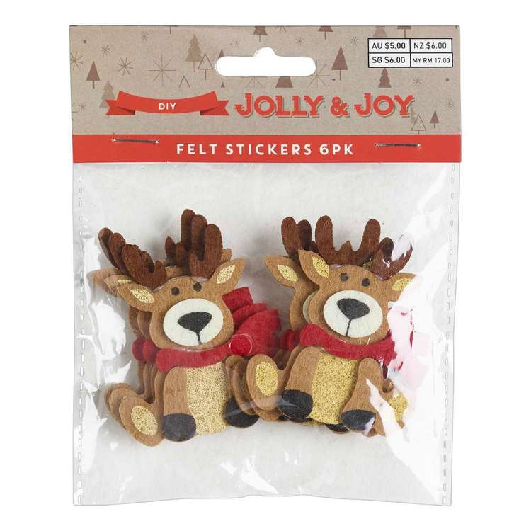 Jolly & Joy DIY Reindeer Felt Stickers 6 Pack