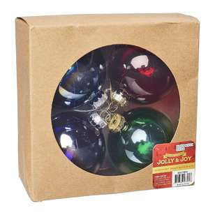 Jolly & Joy Decorate Glam Luxe Iridescent Glass Baubles 4 Pack