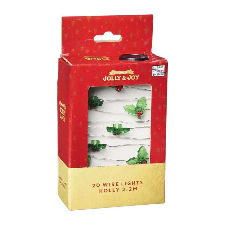Jolly & Joy Decorate Wire Lights Holly Green