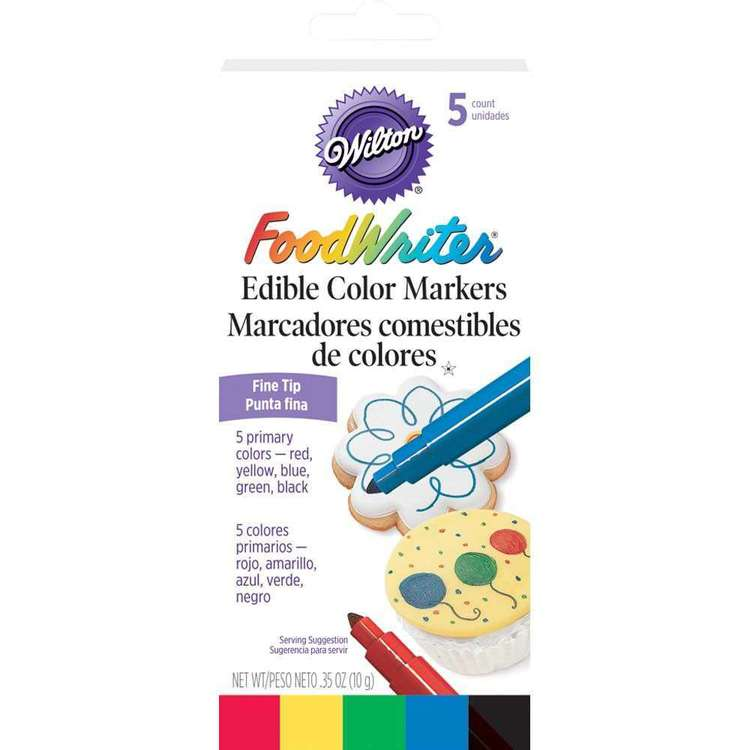 Wilton Fine Tip Edible Colour Markers 5 Pack Multicoloured