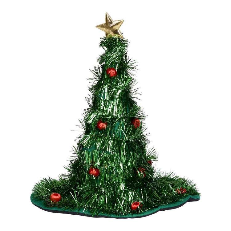 Jolly & Joy Celebrate Tinsel Tree Hat with Lights Green