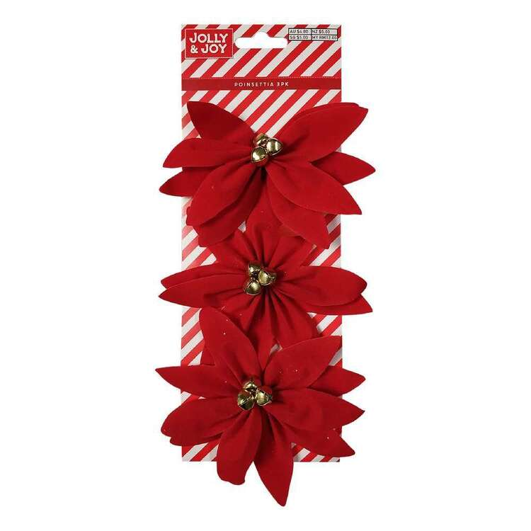 Jolly & Joy Poinsettia With Bell 3 Pack
