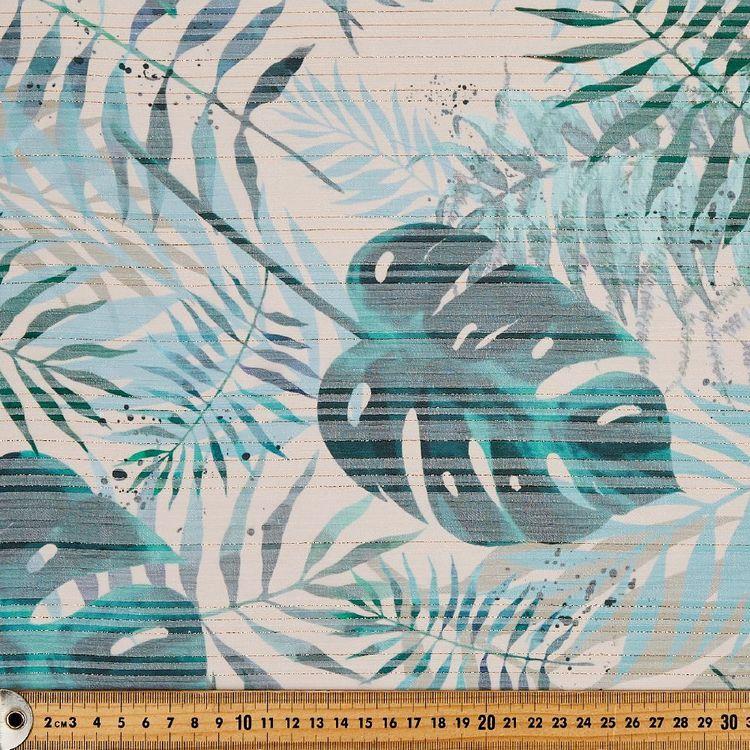 Monstera Printed Lurex Chiffon Fabric