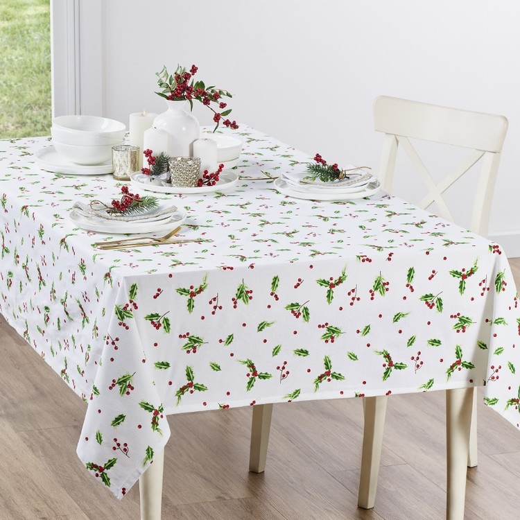 Living Space Festive Holly Printed Tablecloth