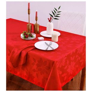 Living Space Festive Poinsettia Tablecloth And Napkin Set