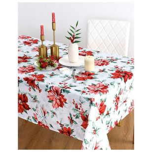 Living Space Festive Poinsettia Printed Tablecloth