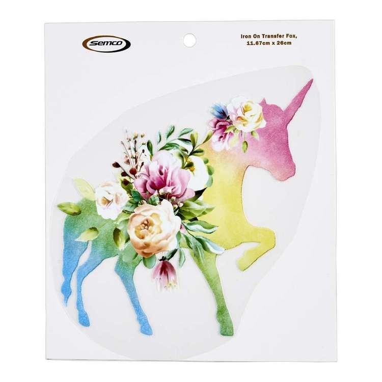 Semco Watercolour Iron On Transfer Flower Unicorn