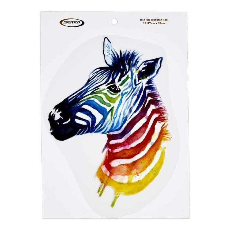 Semco Watercolour Iron On Transfer Rainbow Zebra