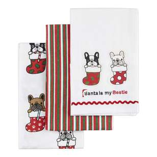 Living Space Festive Santa Bestie Tea Towel 3 Pack