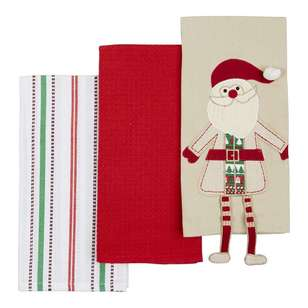 Living Space Festive Santa Claus Tea Towel 3 Pack