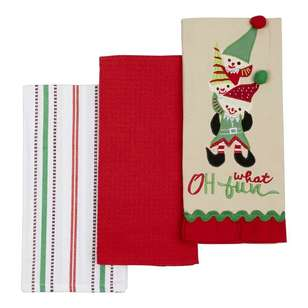Living Space Festive Fun Elves Tea Towel 3 Pack