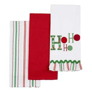 Living Space Festive Ho Ho Ho Tea Towel 3 Pack